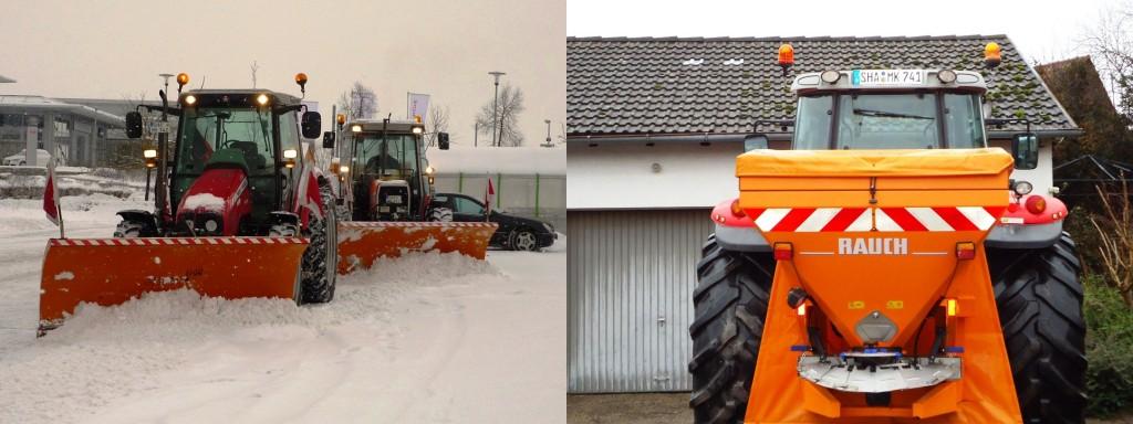 Winterdienst - Schneeschild und Salz